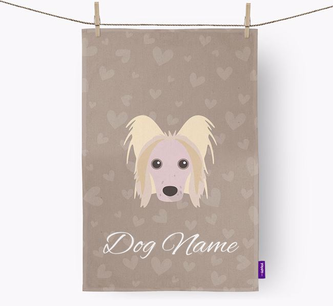 Personalised Chinese Crested Hearts Dish Towel