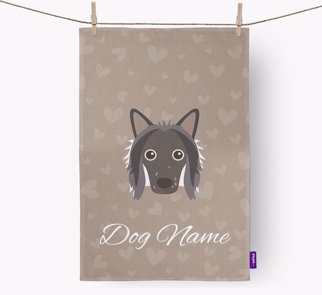 Personalised Chinese Crested Hearts Tea Towel
