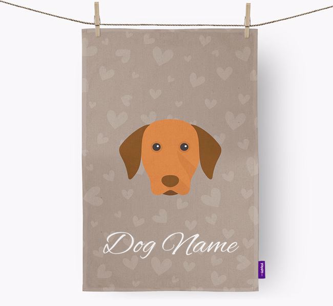 Personalised Vizsla Hearts Dish Towel