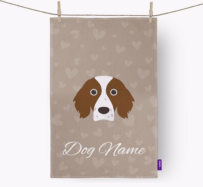 Personalised Red & White Setter Hearts Dish Towel