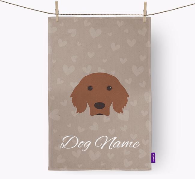 Personalised Irish Setter Hearts Dish Towel