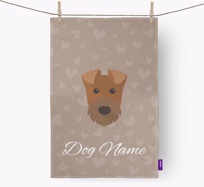 Personalised Irish Terrier Hearts Dish Towel