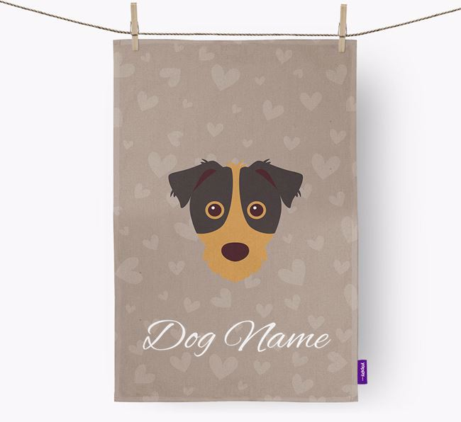 Personalised Jack Russell Hearts Dish Towel