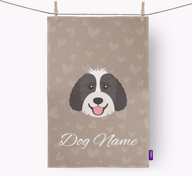 Personalised Labradoodle Hearts Dish Towel