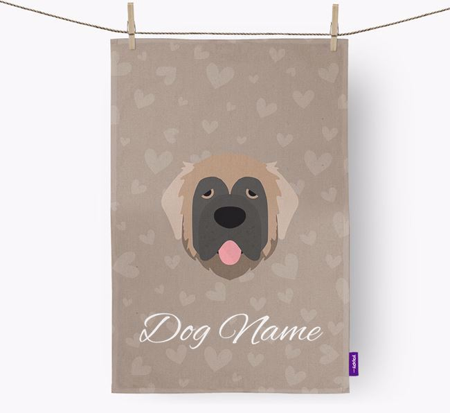Personalised Leonberger Hearts Dish Towel
