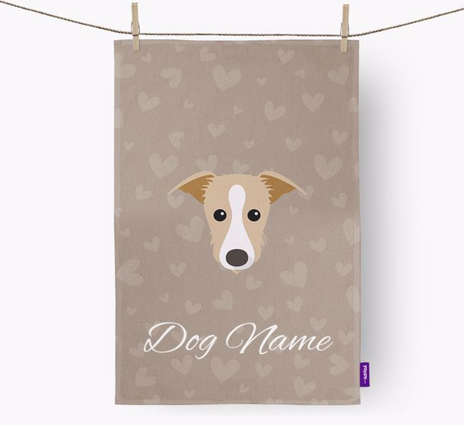 Personalised Lurcher Hearts Dish Towel