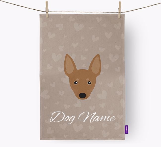 Personalised Manchester Terrier Hearts Dish Towel
