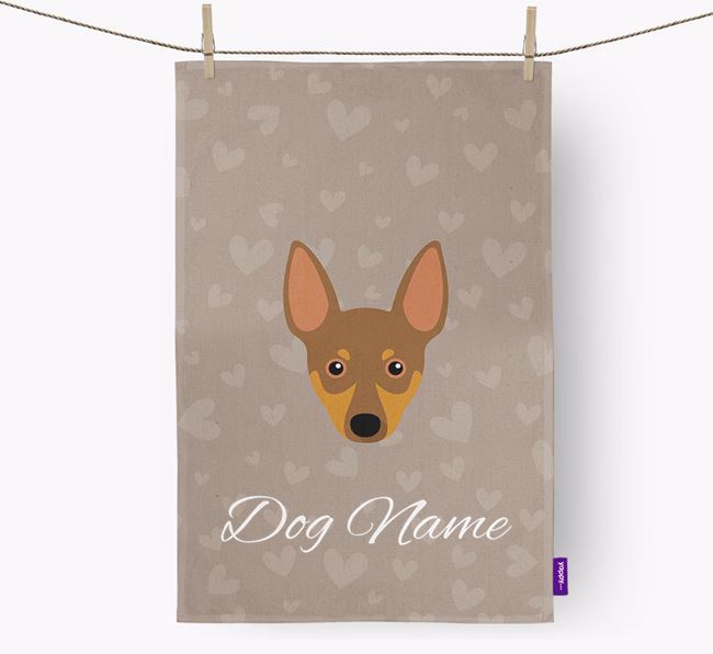 Personalised Miniature Pinscher Hearts Dish Towel