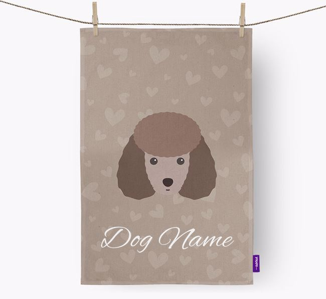 Personalised Miniature Poodle Hearts Dish Towel