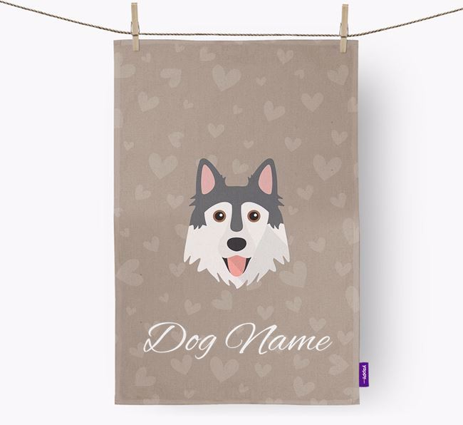 Personalised Northern Inuit Hearts Dish Towel