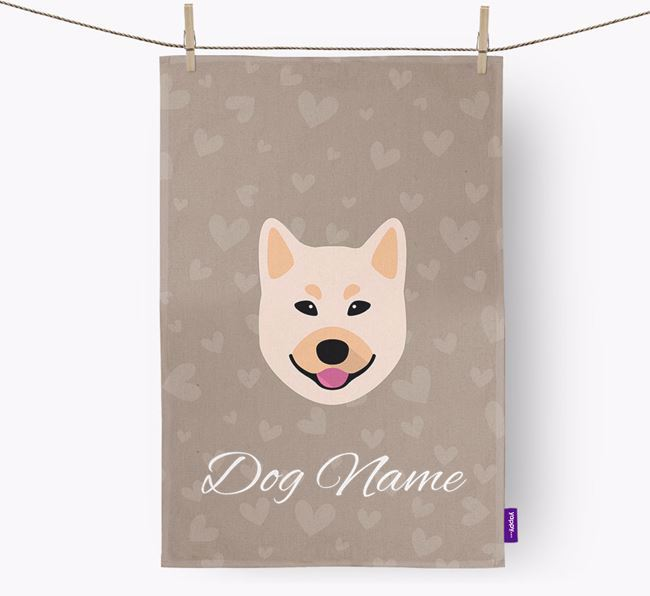 Personalised Buhund Hearts Dish Towel