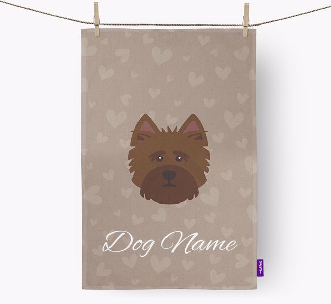 Personalised Norwich Terrier Hearts Dish Towel