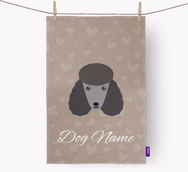Personalised Poodle Hearts Dish Towel