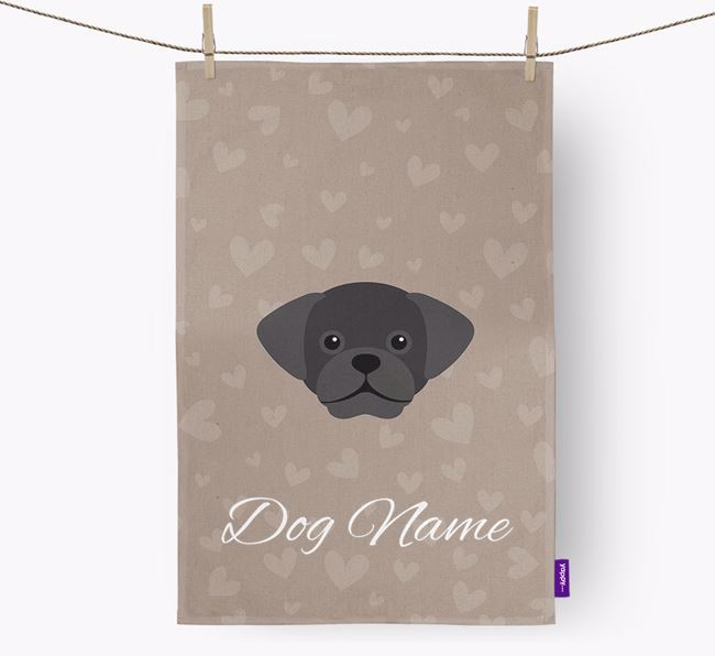 Personalised Puggle Hearts Dish Towel
