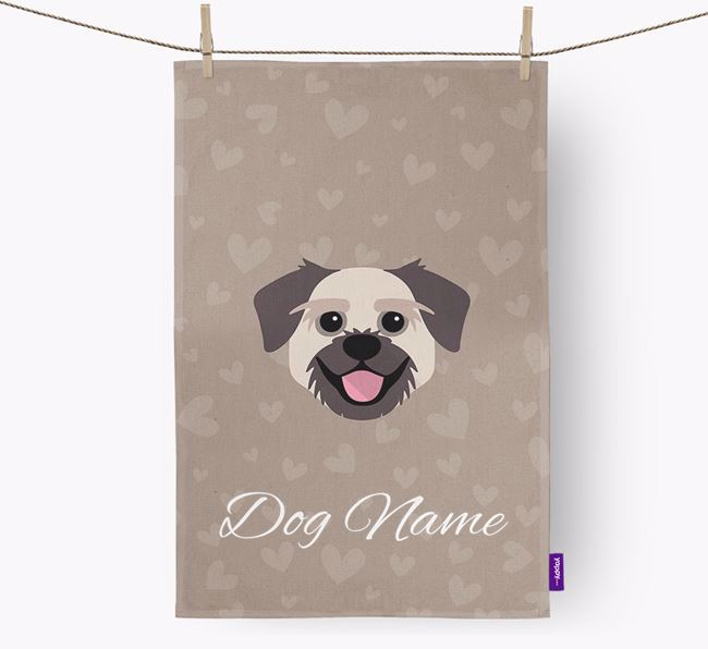 Personalised Pugzu Hearts Dish Towel