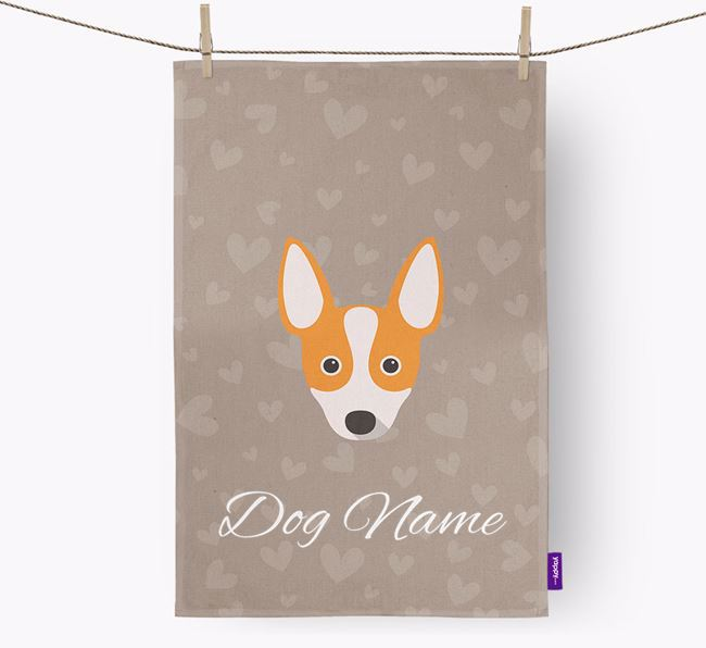 Personalised Rat Terrier Hearts Dish Towel