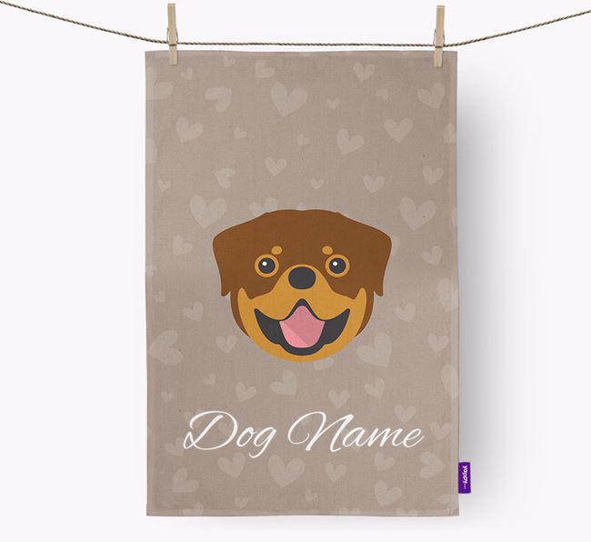 Personalised Rottweiler Hearts Dish Towel
