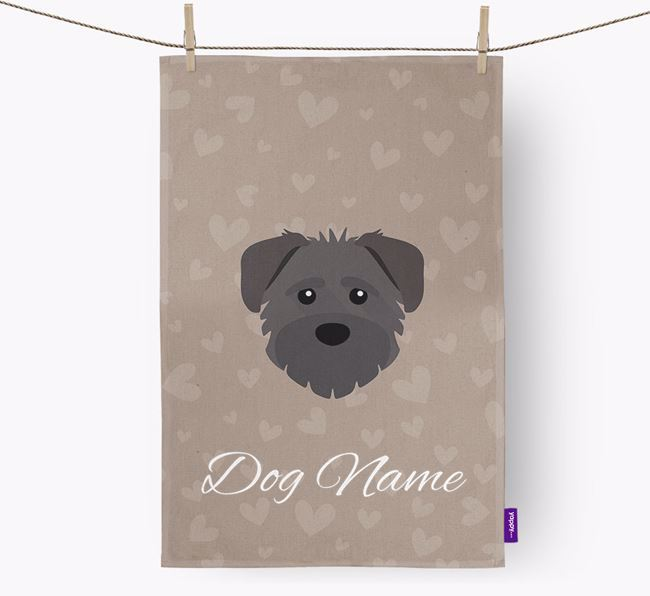 Personalised Schnoodle Hearts Dish Towel