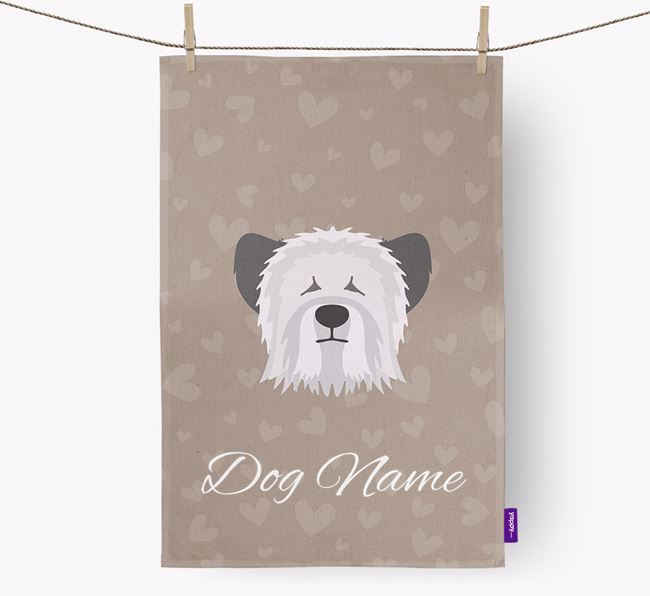 Personalised Skye Terrier Hearts Dish Towel