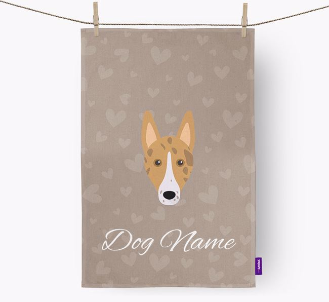 Personalised Collie Hearts Dish Towel