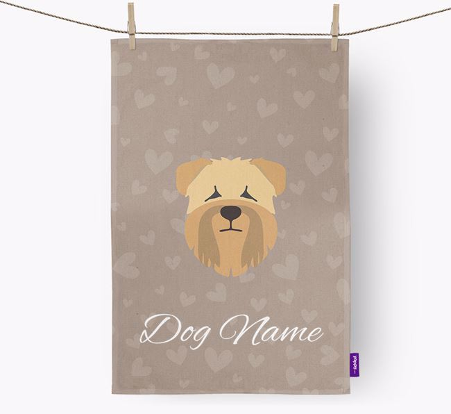 Personalised Wheaten Terrier Hearts Dish Towel