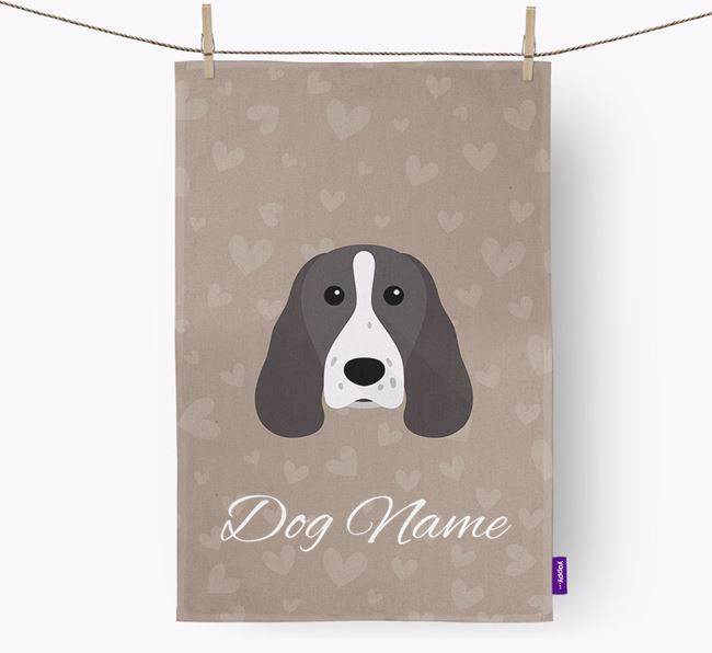 Personalised Springer Spaniel Hearts Dish Towel