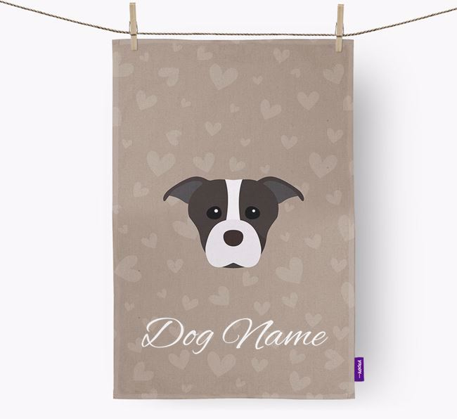 Personalised Staffie Hearts Dish Towel