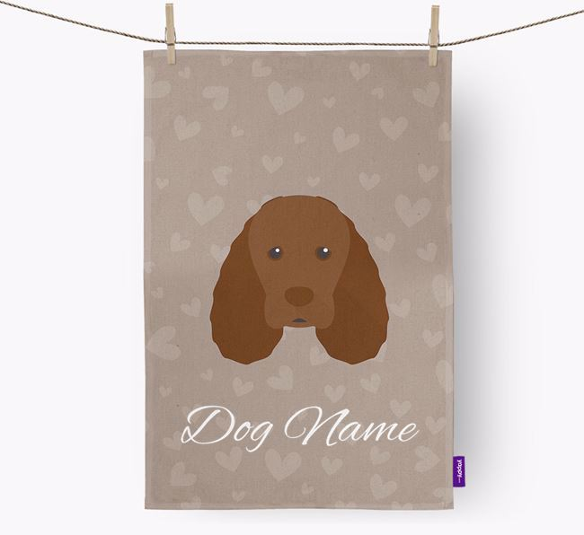 Personalised Sussex Spaniel Hearts Dish Towel