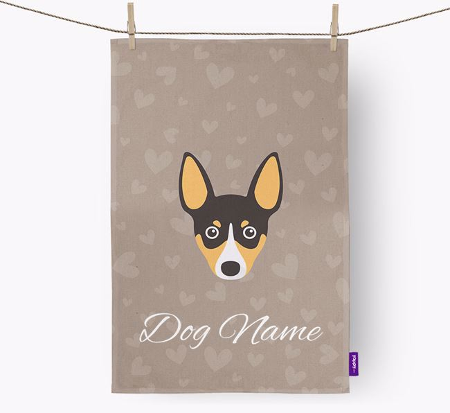 Personalised Toy Fox Terrier Hearts Dish Towel