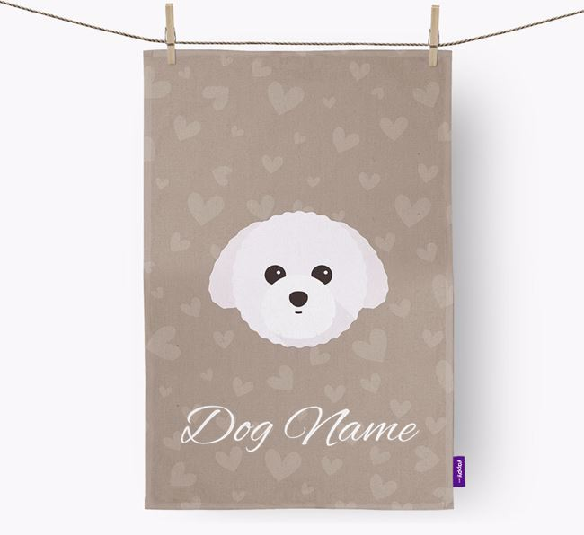 Personalised Toy Poodle Hearts Dish Towel