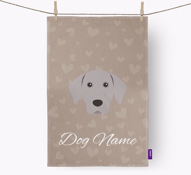 Personalised Weimaraner Hearts Dish Towel