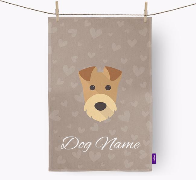 Personalised Welsh Terrier Hearts Dish Towel