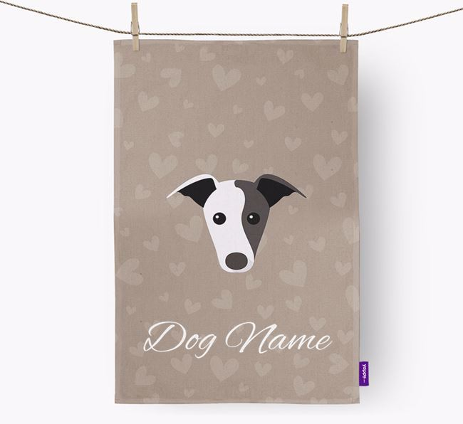 Personalised Whippet Hearts Dish Towel