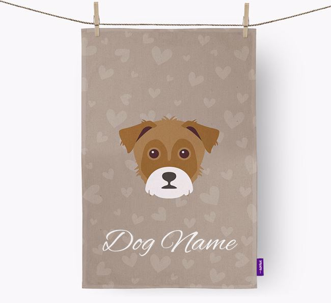Personalised Yorkie Russell Hearts Dish Towel