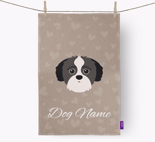 Personalised Yorkipoo Hearts Dish Towel