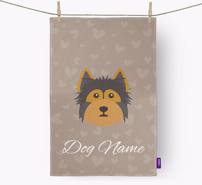 Personalised Yorkshire Terrier Hearts Dish Towel
