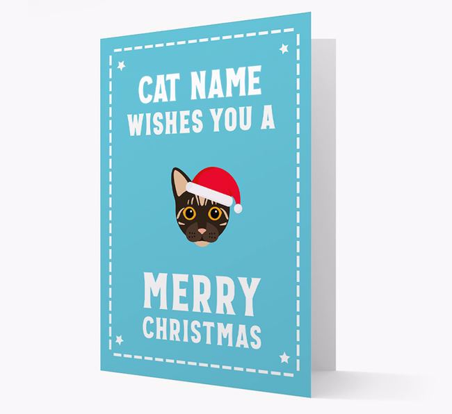 'Christmas Wishes' - Personalised Christmas Card with Bengal Icon