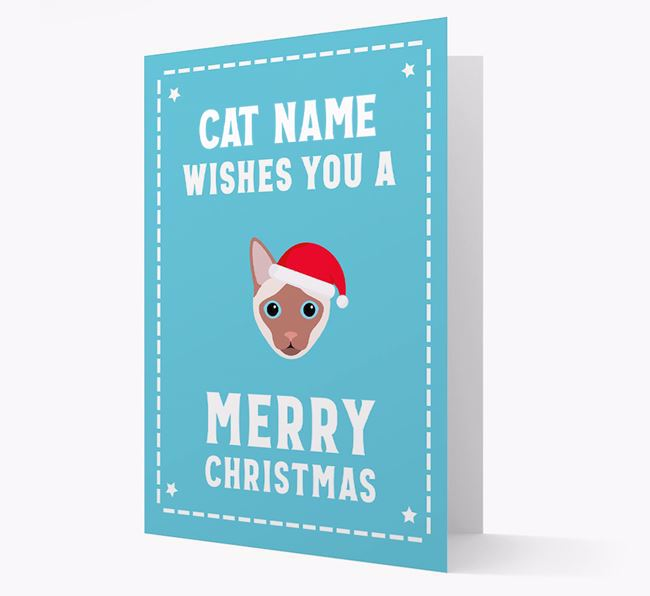 'Christmas Wishes' - Personalised Christmas Card with Siamese Icon