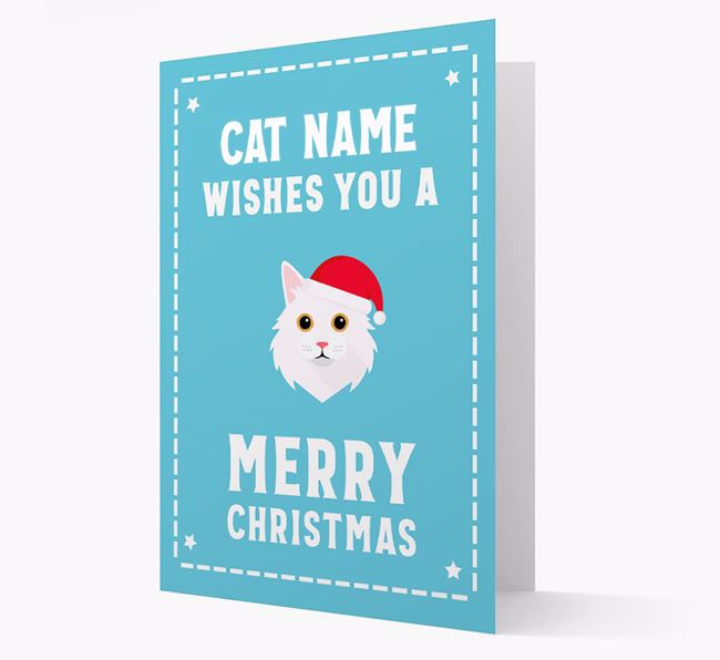 'Christmas Wishes' - Personalised Christmas Card with Cat Icon