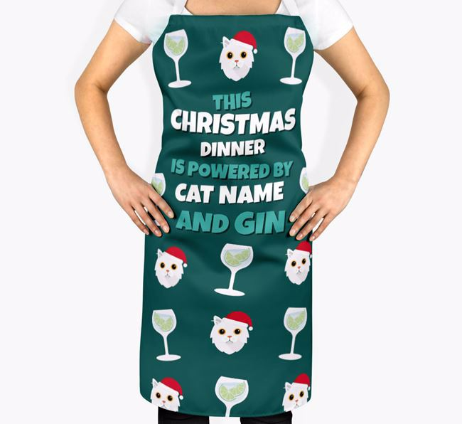 'This Christmas Dinner is Powered by Gin' - Personalized Cat Apron