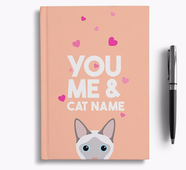 'You, Me and...' - Personalised Siamese Notebook with Heart Pattern