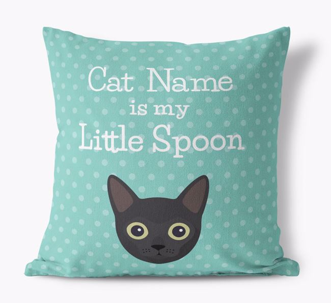 'Little Spoon' with Cat Icon - Personalized Canvas Pillow