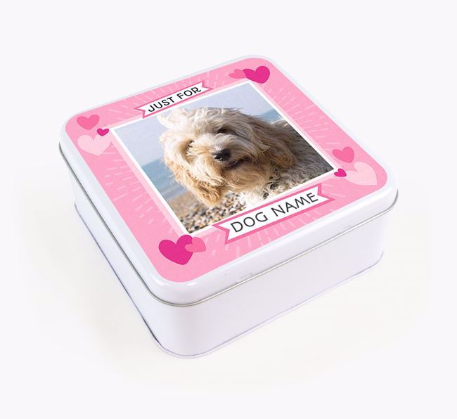 'Just For You' - Personalised Cockapoo Square Treat Tin