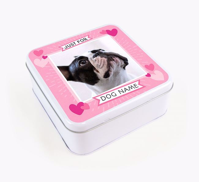 'Just For You' - Personalised French Bulldog Square Treat Tin