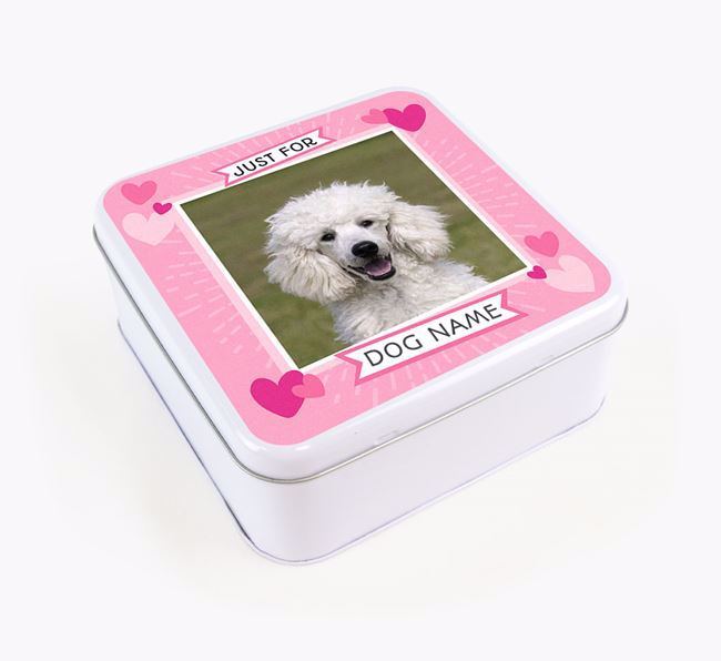 'Just For You' - Personalised Poodle Square Treat Tin