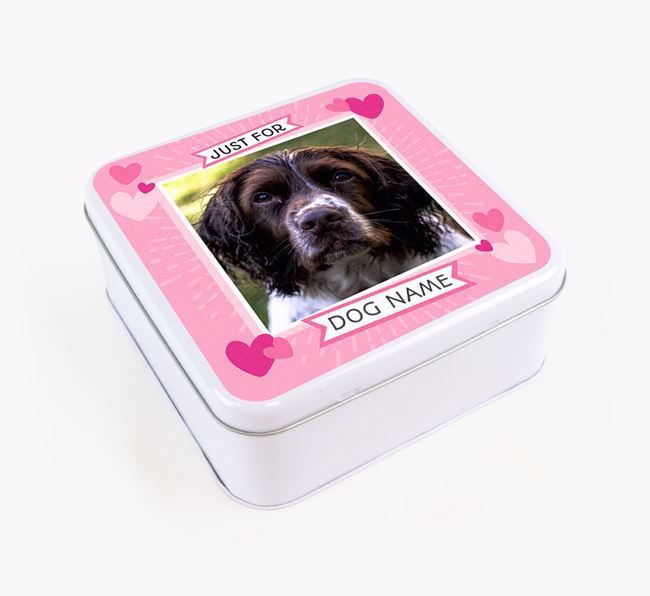 'Just For You' - Personalised Springer Spaniel Square Treat Tin