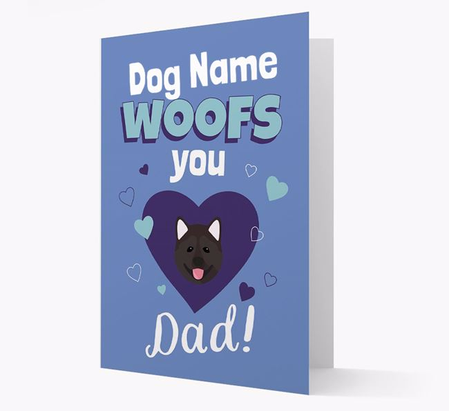 'I Woof You Dad' - Personalized Akita Card