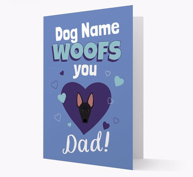 'I Woof You Dad' - Personalized American Hairless Terrier Card