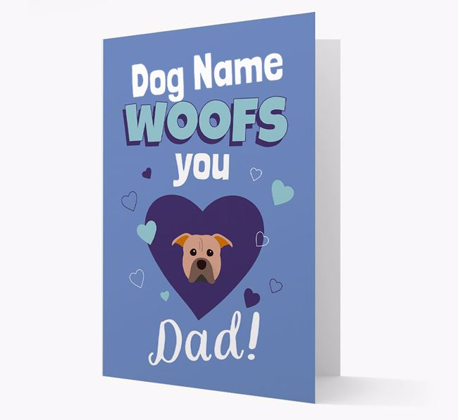'I Woof You Dad' - Personalized American Pit Bull Terrier Card