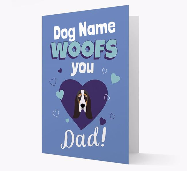 'I Woof You Dad' - Personalized Basset Hound Card